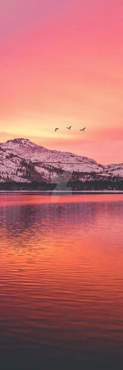 Pink Mountain Sunset Custom Background by Ulfeid3