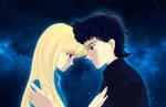 Usagi and Seiya under the stars