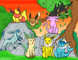 Eeveelution: playtime at Dusk by WhiteTiger1987