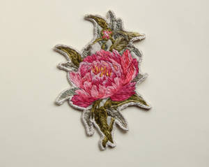Hand embroidered pink peony