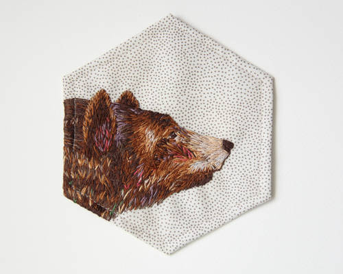Hand embroidered bear patch