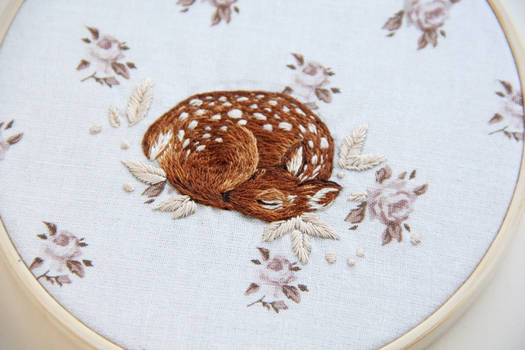 Sleeping fawn embroidery