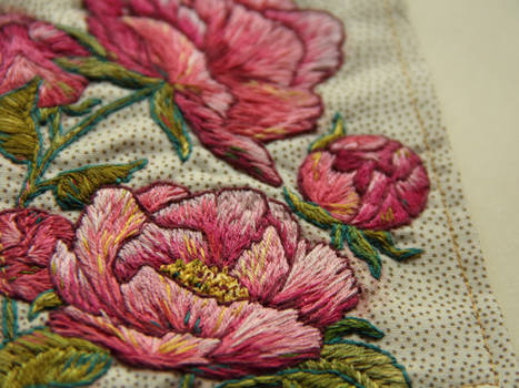 Embroidered peonies