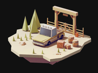 Farm Truck Low Poly Scene by gendosplace