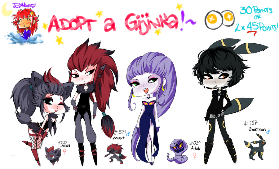 Adopt a Gijinka -Set 1- CLOSED by JessMikaerisu