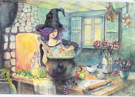 witch-at-kitchen by llyokoll