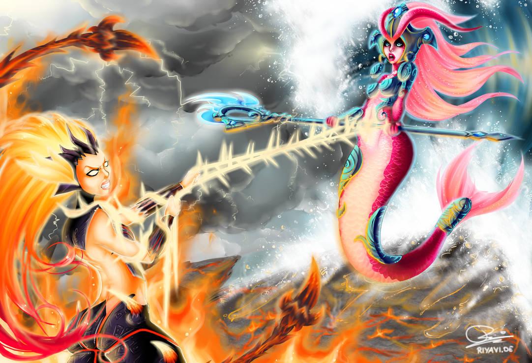 Zyra vs. Nami - League of Legends by Riyavi