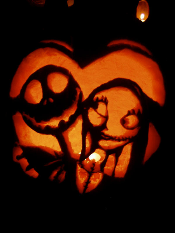 Jack And Sally Pumpkin by 7ANYA