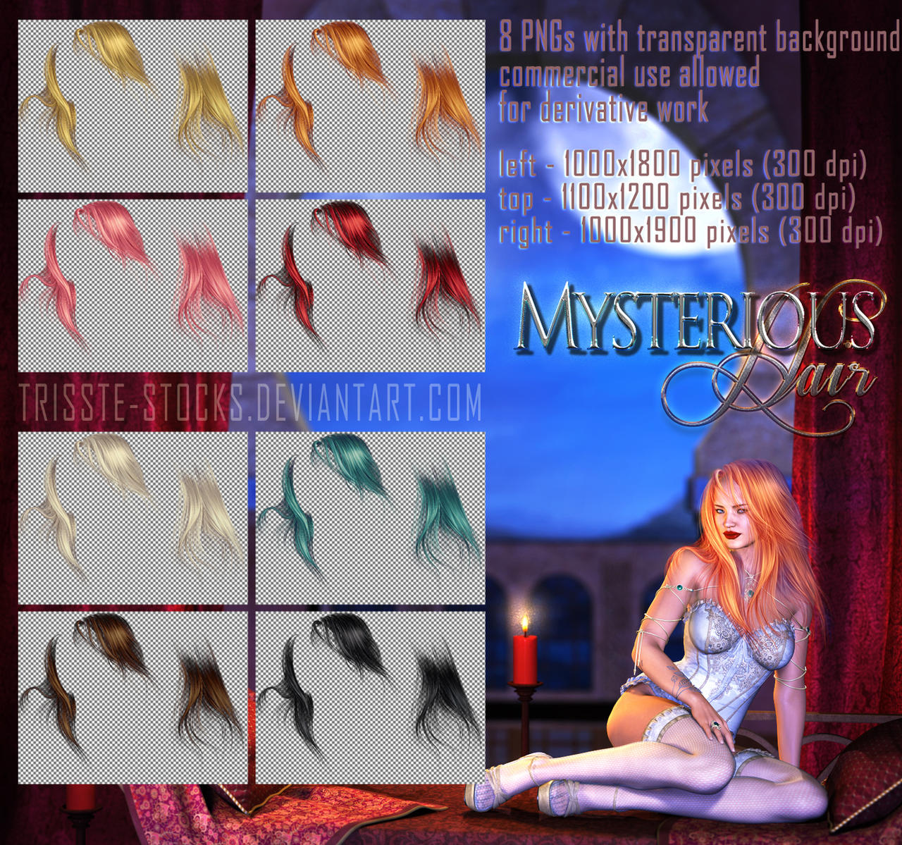 Mysterious HAIR STOCK by Trisste-stocks