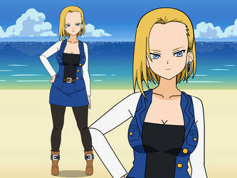 Android 18 in Red Ribbon Army outfit by ConanRock