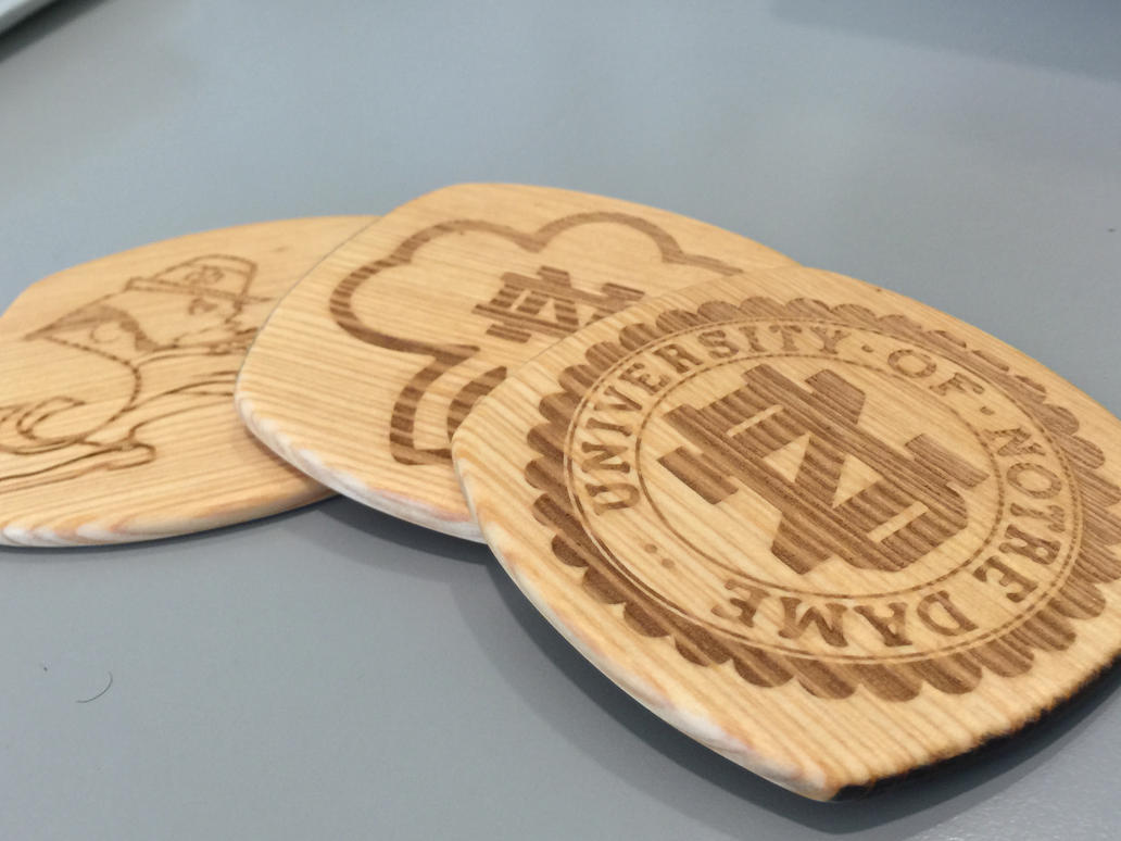 Laser Engraved Notre Dame Coasters by Tim--the-Enchanter