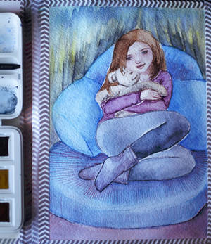a gift - watercolor illustration