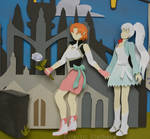 RWBY Paper Art Nora and Weiss close up