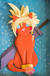 FFVII Cloud Red XIII Paper Art Shadow Box