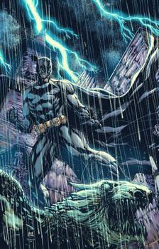 Batman on Gargoyle colored by Raymund Lee