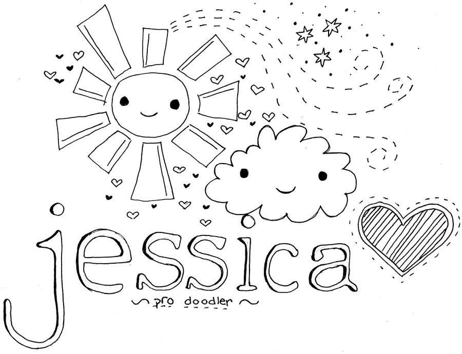 jessica name coloring pages | name doodle by iamsorad on DeviantArt
