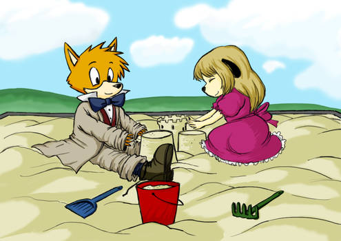 Young Sherlock Hound playing in the sand