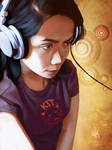 Headphone Jenn by DanHowardArt