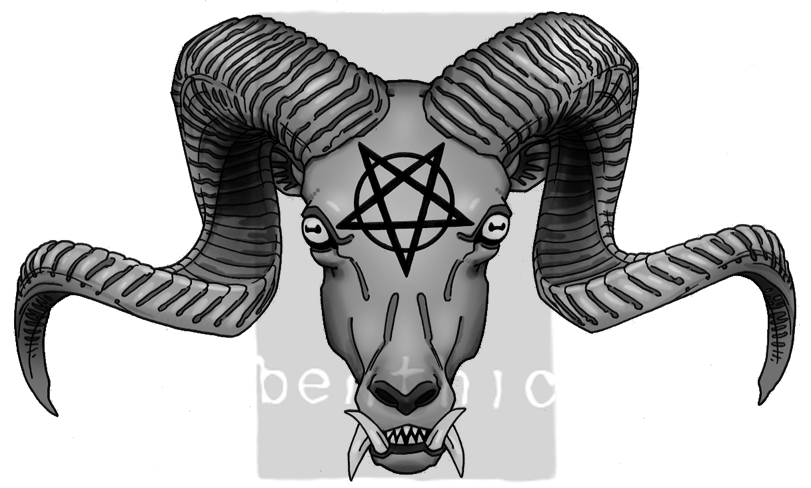 tattoo - diabolic ram's head - chest tattoo