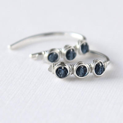 Petite Blue Swarovski Crystal Earrings by DesignsbyElenaMarie
