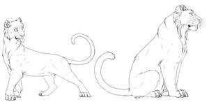 Tigress and tiger free lineart