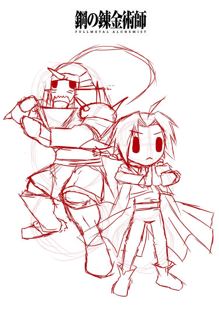Chibi Fullmetal Alchemist Sketch by JC-790514