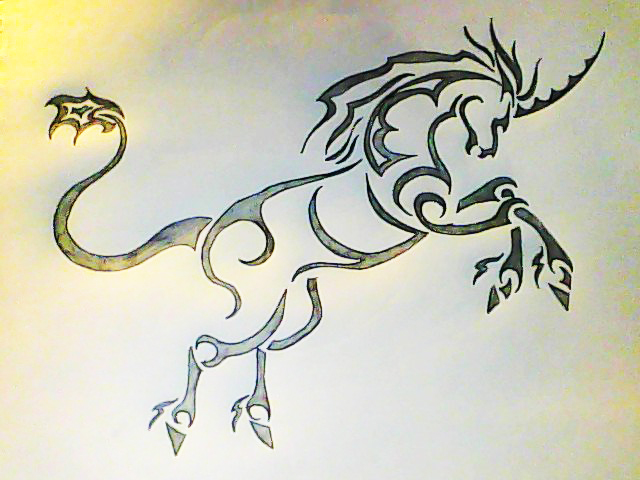 Labels: Tribal Unicorn Tattoo Design on Full Back Body