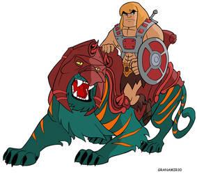 Battlecat and He-man by Granamir30