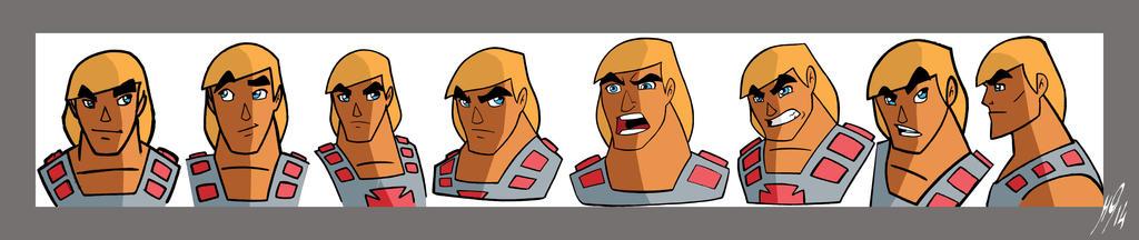 He-man faces model sheet