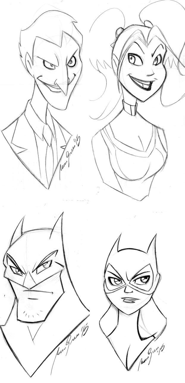 Batman faces by Granamir30