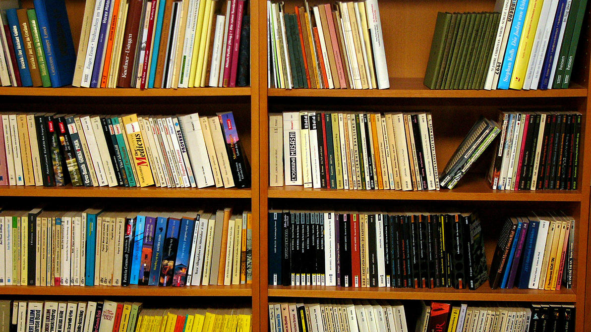 Amazing photo of Bookshelf by Kaeros Stock on DeviantArt with #B27119 color and 1920x1080 pixels