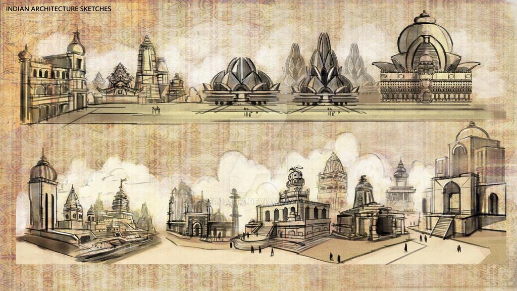 Indian Architecture Sketches by fercastz on DeviantArt
