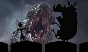Timon And Pumbaa Get Scared Watching Godzilla