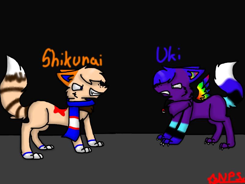 Fight Uki VS Shikunai by nenobedo