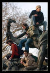 on the statue