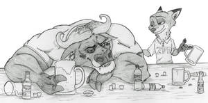 A drunken buffalo and a satisfied fox by Ziegelzeig