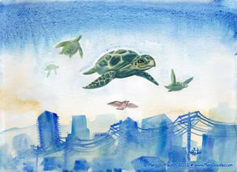 FLYING SEA TURTLES!