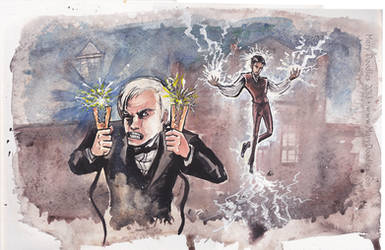 Edison VS Tesla by MaryDoodles