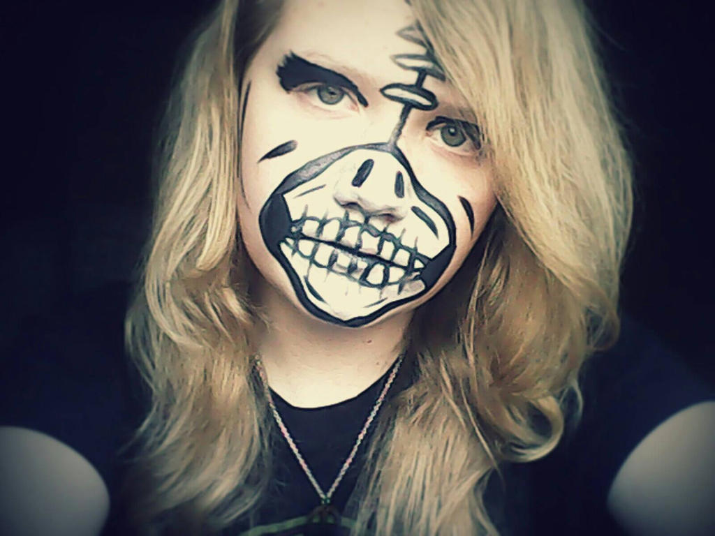 Skeleton Face paint. by CuTeCuMbErR