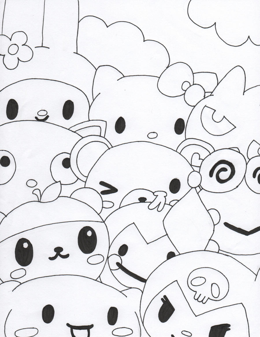 Hello kitty and friends by meggiemorphine on deviantart for Coloring pages of hello kitty and friends