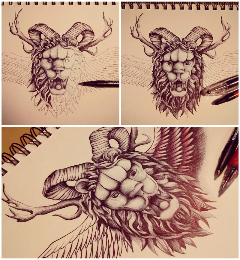 Lion head tat by mmpninja
