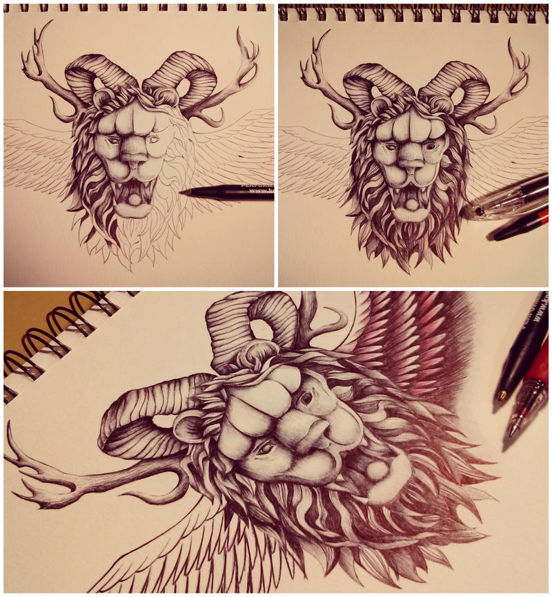Lion head tat by mmpninja