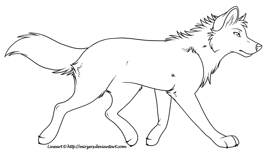 trotting wolf lineart by mirzers on deviantart