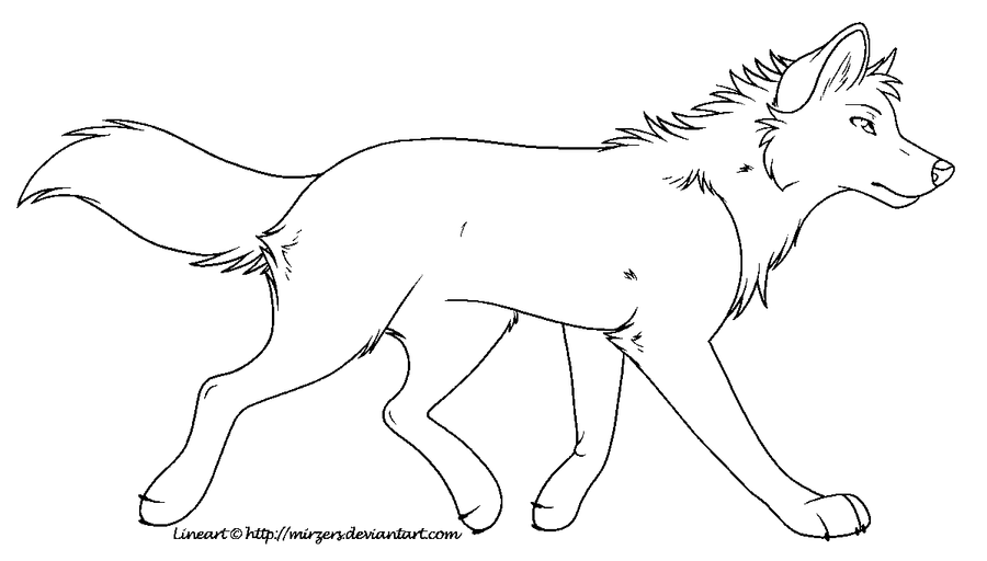 Simple Wolf Lineart : Trotting wolf lineart ms paint by mirzers on deviantart