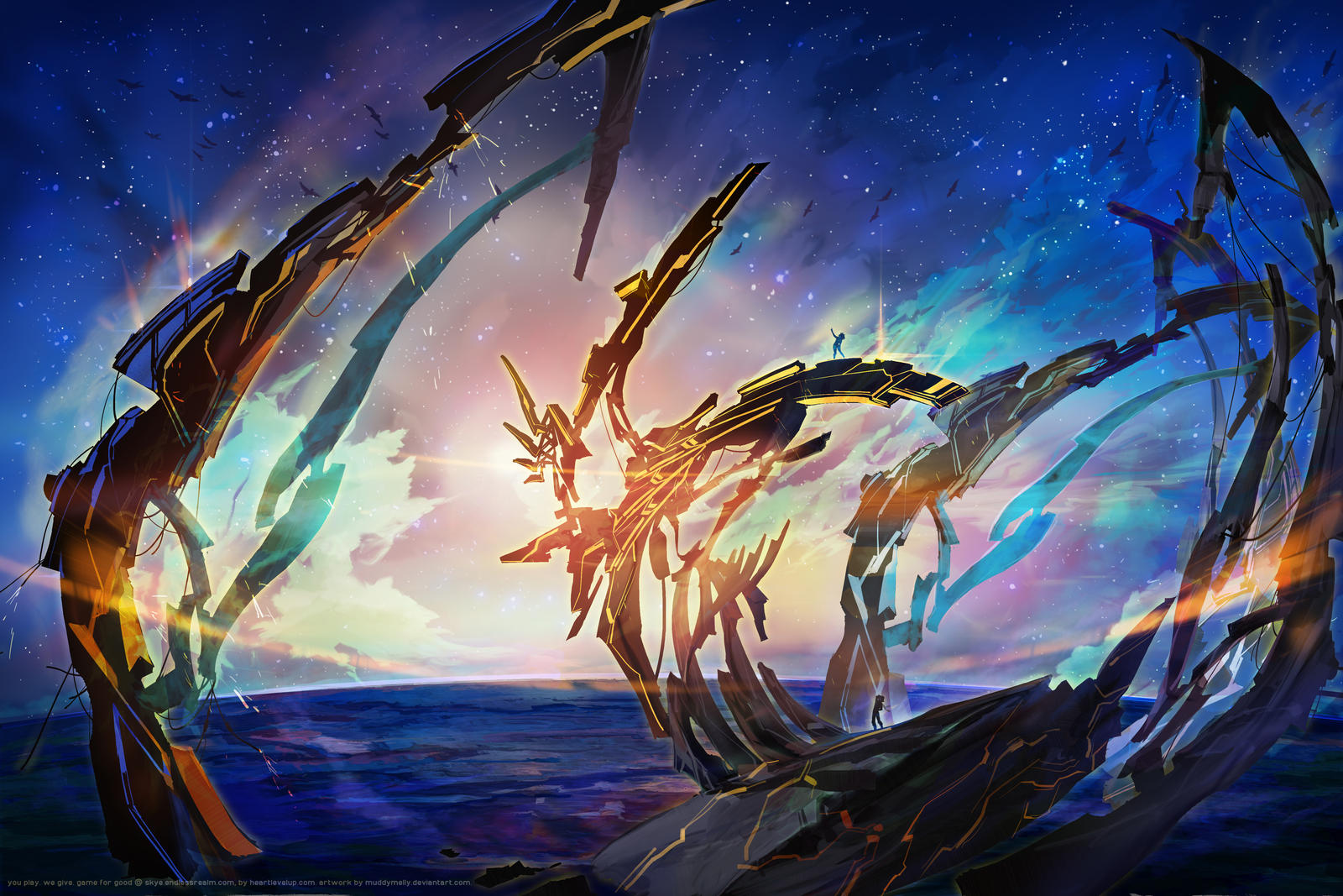[MMO Concept Art] [Skye] - Lyra's Ship, Kyanos by muddymelly