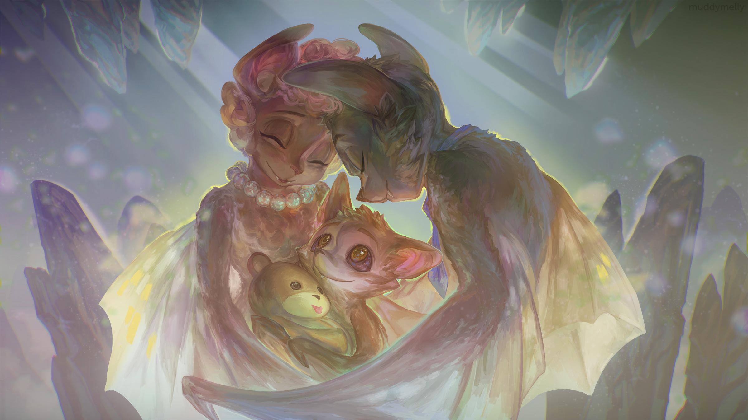 [Gift Art] - Little Bat Family (free .PSD!) by muddymelly