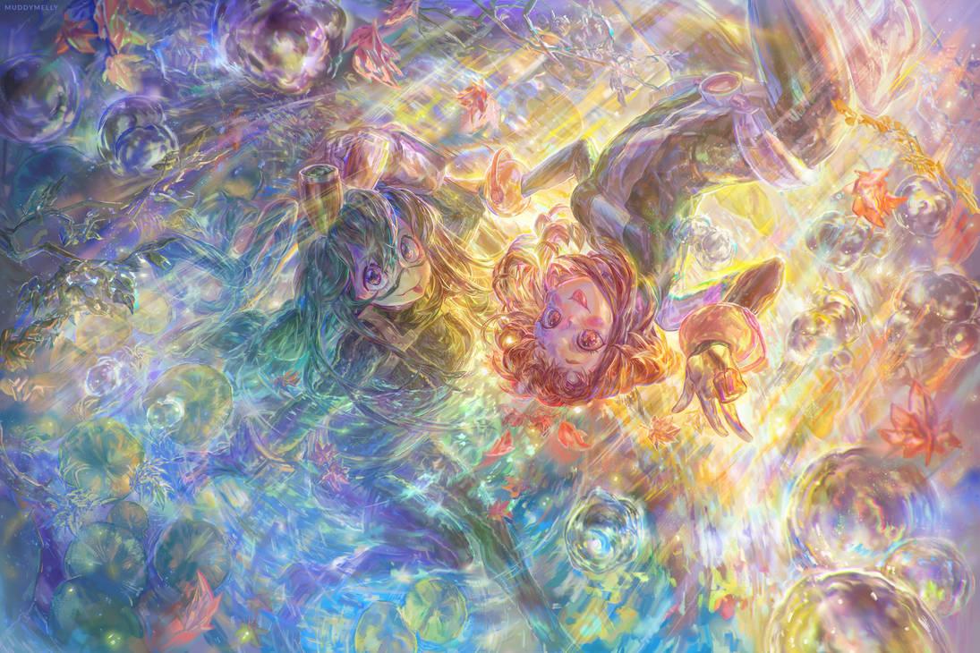 Tsuyu Asui + Ochaco Uraraka   My Hero Academia by muddymelly