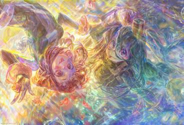 [Cropped closeup] Tsuyu Asui + Ochaco Uraraka by muddymelly