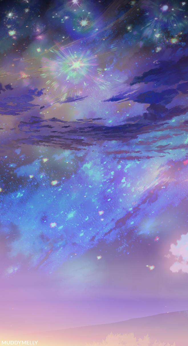 Night sky background from my Yuru Camp art! by muddymelly