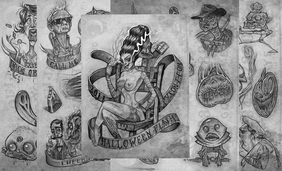 Halloween Tattoo Flash by taumaoe